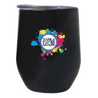 Custom Printed Mobil Reusable Coffee Cups in Matt Black with Full Colour Logo from Total Merchandise