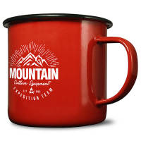 Custom 20oz Premium Enamel Mugs in red with black rim from Total Merchandise