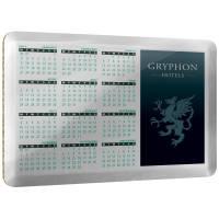 Promotional Metal Calendar Coasters in Silver Mirror Printed by Total Merchandise