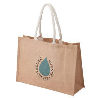 Promotional Large Jute Shopper Bag in Natural Material Printed with a Logo by Total Merchandise