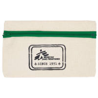 Promotional Organic Cotton Pencil Case in Natural/Green Printed with a Logo by Total Merchandise