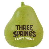 Promotional printed Stress Pears with a company logo branded on the side from Total Merchandise