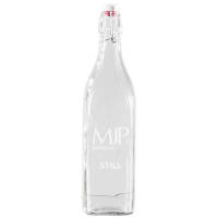 Promotional 1 Litre Square Swing Top Glass Bottles Engraved with Company Designs