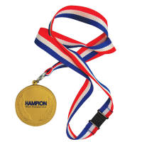 Promotional branded Stress Medal custom printed with a logo on 1 side and supplied with a lanyard