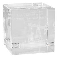 Promotional 3D Engraved Crystal Cubes for Corporate Gifts
