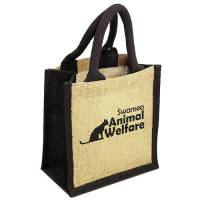 Branded Wells Jute Tiny Gift Bags in Black with a Printed Logo by Total Merchandise