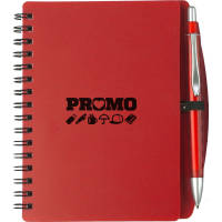 Promotional A6 Plastic Cover Notebooks available in red from Total Merchandise