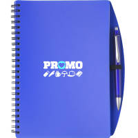 Promotional printed A5 Plastic Cover Notebooks with a company logo branded to the front