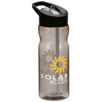 Promotional 650ml Base Spout Lid Sports Bottles in charcoal with a black lid from Total Merchandise
