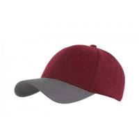 6 Panel Contrast Caps in Maroon/Grey