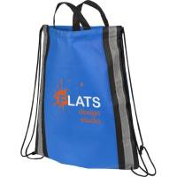 Reflective Stripe Drawstring Bags in Royal Blue