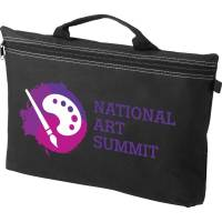 Branded black zipper document bag printed with your logo from Total Merchandise