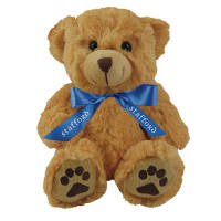 Promotional Dexter Teddy Bears with a company branded bow from Total Merchandise
