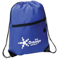 Logo Printed Headphone Slot Drawstring Bags in Blue with Printed Logo from Total Merchandise