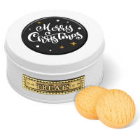 Each promotional Christmas Treat Tin features your artwork printed on the domed label in full colour