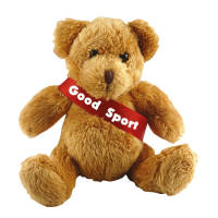 Promotional 5 Inch Robbie Teddy Bears with a company printed sash from Total Merchandise