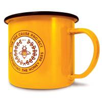 Custom Printed Premium Enamel Mugs in yellow with black rim from Total Merchandise