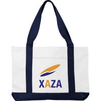Madison Tote Bags in White/Navy Blue