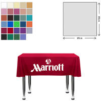 Custom printed Square Polyester Tablecloths with a company logo in 89 x 89cm size