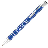 Personalised blue electra enterprise ballpens printed with your logo from Total Merchandise