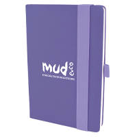 Promotional A5 Wide Strap Soft Touch PU Notebooks in purple from Total Merchandise