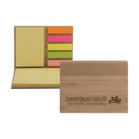 Promotional Bamboo Cased Sticky Note Sets for Office Giveaways
