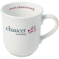 Promotional Bell Mug in White Printed with a Company Logo from Total Merchandise