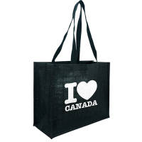 Corporate Branded Black Taunton Jute Shopper Bags in Black from Total Merchandise