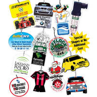 A selection of custom branded Car Air Fresheners  From Total Merchandise