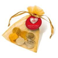 Promotional Chocolate Coin Organza Bags in Gold with Printed Tag from Total Merchandise