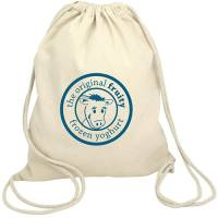 Promotional Cotton Drawstring Backpacks in Natural Cotton Printed with a Logo by Total Merchandise