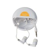 Promotional Earphone Pods in White with Printed Logo by Total Merchandise