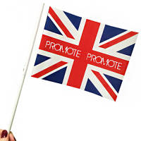 Custom Eco Friendly Paper Hand Flags with a logo-branded to both sides from Total Merchandise