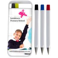 Essentials Flip Case Pen Sets in White