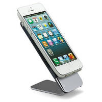Custom Engraved Executive Mobile Phone Stands in Chrome/Black with iPhone Mounted