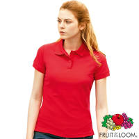 Branded Fruit of the Loom Lady Fit Polo Shirts in Red from Total Merchandise