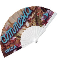 Promotional Full Colour Fabric Folding Fans in White from Total Merchandise