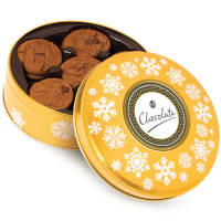 Gold Belgian Chocolate Cookie Tins