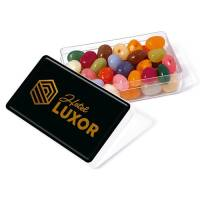 Promotional Gourmet Jelly Bean Rectangle Pots Printged with a Logo to the Lid by Total Merchandise