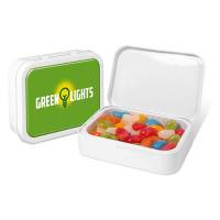 Promotional Jolly Jelly Bean Flip Top Tins with Printed Domed Label to Lid by Total Merchandise
