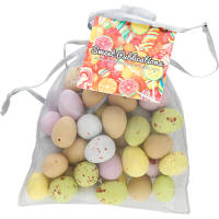 Large Organza Bags with Mini Eggs in Silver