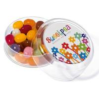 Promotional Maxi Gourmet Jelly Bean Pots in Clear with Domed Label Printed by Total Merchandise