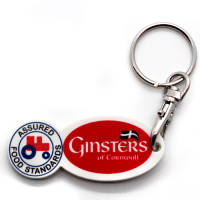 Promotional Oval Trolley Token Stick Keyrings for Company Giveaways