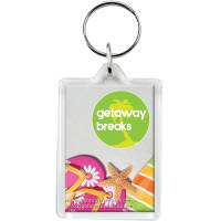 Full colour printed Plastic Rectangular Keyrings branded with a company logo from Total Merchandise