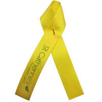 Custom branded Campaign Ribbons in yellow from Total Merchandise