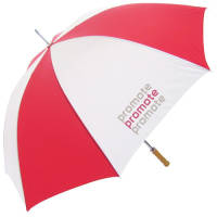 Promotional Golf Umbrellas in Red/White from Total Merchandise