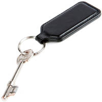 Rectangular Belluno PU Keyrings in Black