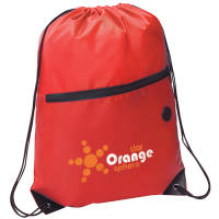Promotional red drawstring bag with a headphone slot, printed with a logo from Total Merchandise
