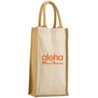 Custom Printed Salisbury 2 Bottle Bags in a Natural Colour with Printed Logo from Total Merchandise