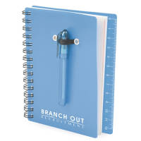 This spiral bound notebook comes with a pen, ruler & sticky notes